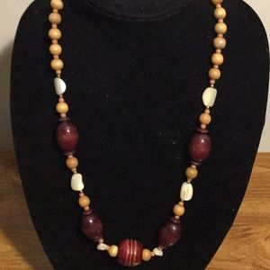 """Jewelry - Handmade wooden bead and stone necklace 25"""""""
